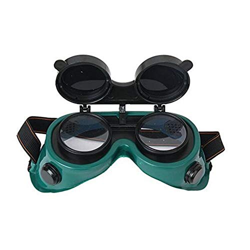 Safety Glasses Flip-Up Front Welding Goggles Lens for Welding, Soldering, Torching, Brazing & Metal Cutting Green