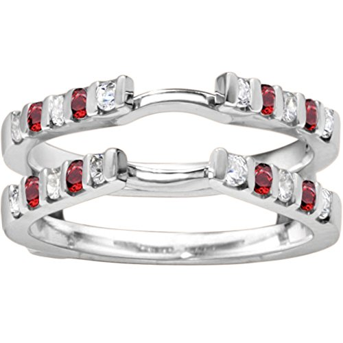 Genuine Ruby Traditional Style Cathedral Wedding Ring Guard Enhancer with 0.5 carats of Diamonds (G-H,I2-I3) and Ruby in Sterling Silver by TwoBirch