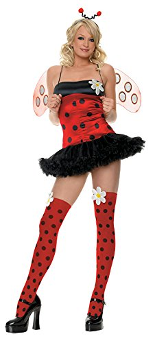 Leg Avenue Women's 4 Piece Daisy Bug Costume Includes Head Piece With Dot Stocking And Daisy AppMultiSmall/Medium