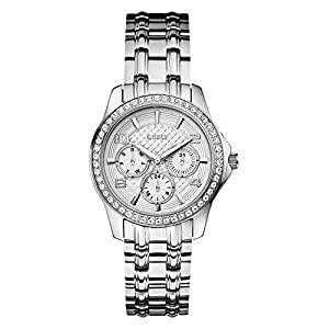 GUESS Factory Women's Silver-Tone Pave Multifunction Watch, NS