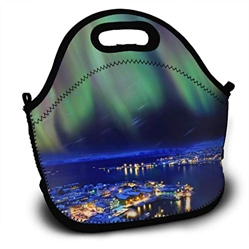 Dejup Lunch Bag Aurora City Tote Reusable Insulated Lunchbox, Shoulder Strap with Zipper for Kids, Boys, Girls, Women and Men -