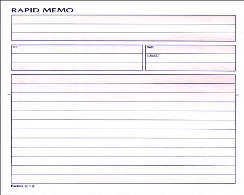 - Adams Rapid Memo Book, 8.25 x 8.5 Inch, 2-Part, Carbonless, 50 Sets, 1 Memo per Page, White and Canary (SC1158)