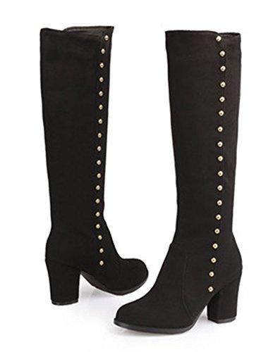 Aisun Women's Vintage Studded Round Toe Dress Block High Heels Zip Up Knee High Knight Boots