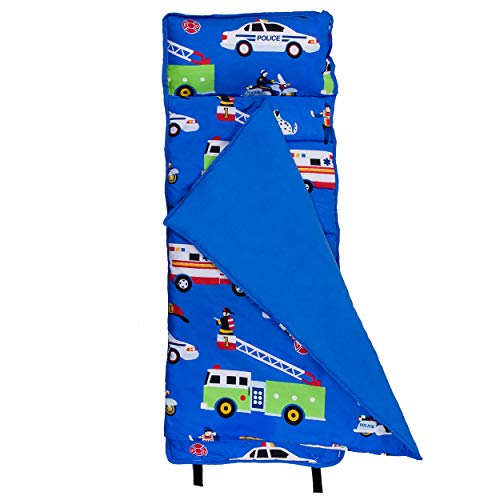 Wildkin Microfiber Nap Mat with Pillow for Toddler Boys and Girls, Perfect Size for Daycare and Preschool, Designed to Fit on a Standard Cot, Patterns Coordinate with Our Lunch Boxes and Backpacks (Firefighter Pillows For Beds)