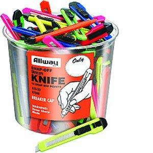 Bucket Knife (AllwayTools XXR1123 K13-50 9mm Snap-Off Knife Bucket (50 Piece/50 Pack), Assorted Neon Colors)