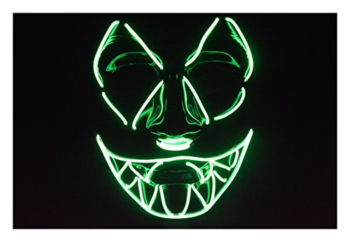 Trippy Costumes (El Wire Mask Sharptooth for Halloween and Lightshows (Green))