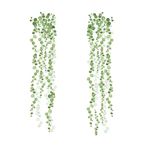 RoomMates RMK3903SCS String Of Pearls Vine Peel And Stick Wall Decals, Green, White, 2 Sheets at 9 Inches x 36.5 Inches 2