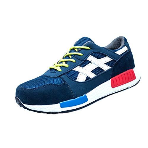 Aiweijia Zapatillas de deporte de seguridad para hombre para mujer Zapatillas cómodas Zapato con punta de acero Zapatos de...