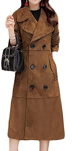 Double Breasted Winter Trench Coat Faux Suede Overcoat Light Tan M ()