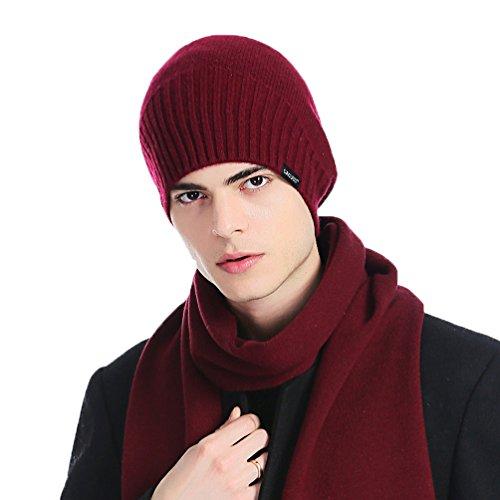 Z0136 de Lana Punto Punto Caliente Merina Invierno CACUSS Gorro Cesta 100 Beanie Rojo de CyRwq1T75c