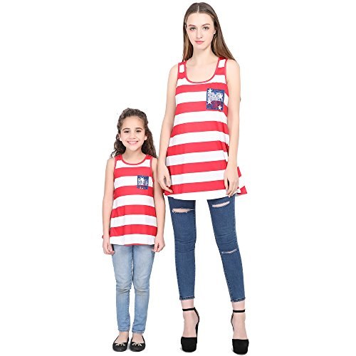 L-fannitily 2018 Family Matching American Flag Lace Pocket Stripe Back Lace Top Coat Fashion T-Shirts (10T) by L-fannitily (Image #7)