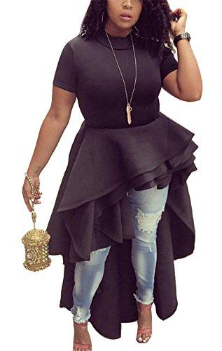 Women's Casual Short Sleeve Tunic Tops Irregular Tees Basic Shirt High Low Cocktail Party Club Dress Oversized Black XXL (Antique Womens Dress)