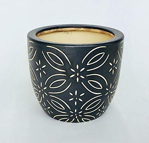 Round Ceramic Pot with Etched Pattern (Matte Black)