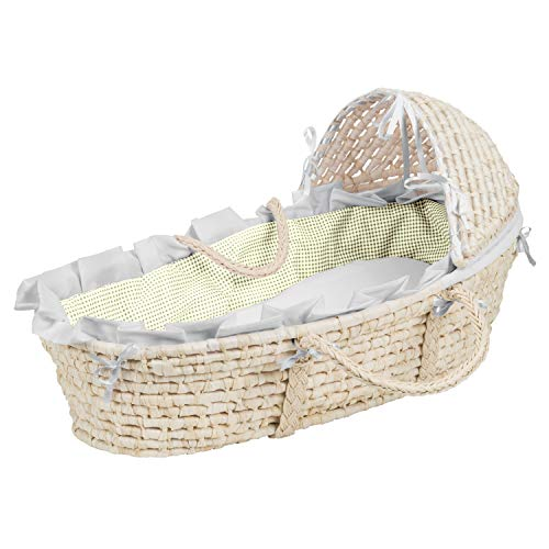 Check Out This Hooded Baby Moses Basket with Liner, Sheet, and Pad