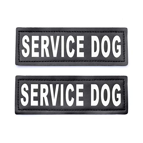 (Service Dog Patch with Hook Reflective Lettering for Service Animal Vests (Large - 2