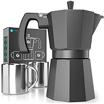 Moka Pot Stovetop Espresso Maker - Coffee Gator Induction-Friendly, Rapid Stove Top Coffee Brewer - Includes 2 Stainless Steel Vacuum Insulated 3oz ...