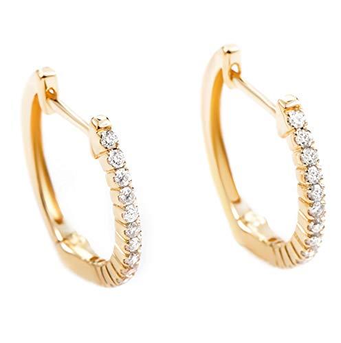 14K Yellow Gold Diamond Hoop Huggies Earrings .27 Carat (0.27 ctw) Brilliant Diamonds