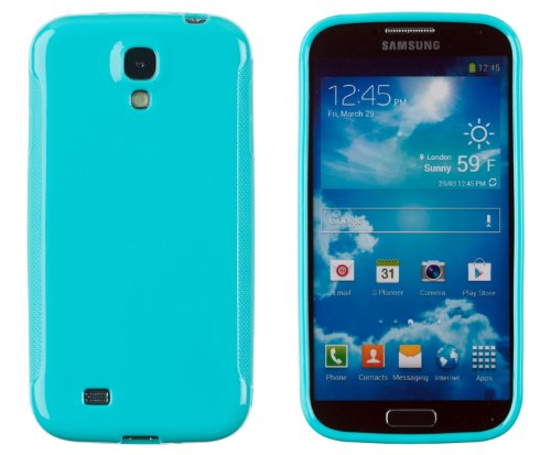 Premium Colorful Glossy Flexible TPU Gel Case for Samsung Galaxy S4 (S IV, i9500) - Includes DandyCase Keychain Screen Cleaner [Retail Packaging by DandyCase] (Aqua)