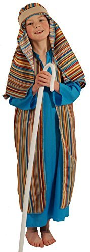 Nativity-Bible-World Book Day BLUE & STRIPED SHEPHERD / JOSEPH Fancy Dress Costume - All Ages (7-8 years) by CL NATIVITY (Shepherds Nativity Costume)