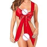 JFLYOU Women Lingerie Bowknot Babydoll Nightwear Bandage Sleepwear Corset Underwear(Red,XXL)