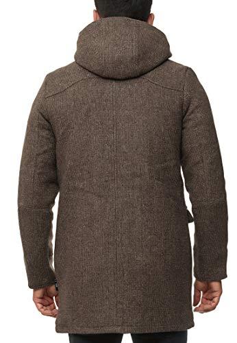 Indicode Homme Liam Duffle Coat avec Col Montant Et Capuche | Moderne Manteau en Laine avec 5 Poches Chaud Manteau D…