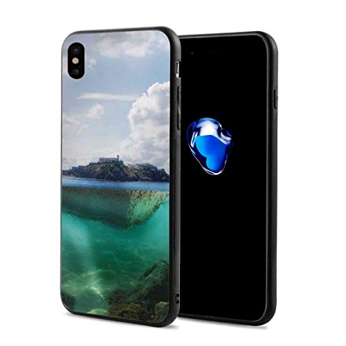 Phone Case Cover Compatible with iPhone X XS,Floating Rock and Lighthouse in Crystal Clear Atlantic Water Mist Nature Photo,Compatible with iPhone X/XS 5.8