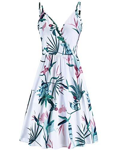 STYLEWORD Women's V Neck Floral Spaghetti Strap Summer Casual Swing Dress with Pocket(Floral07,M)