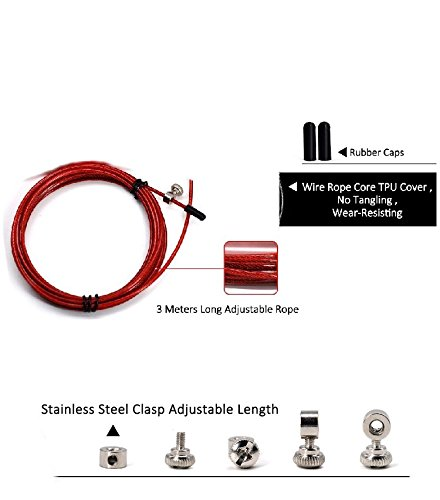 Fitness adjustable+ KTCPRO draw string bag-by KTCPRO Boxing Speed jump rope for Crossfit For more effective training /& healthy body -With metal connection Cardio High speed double unders MMA