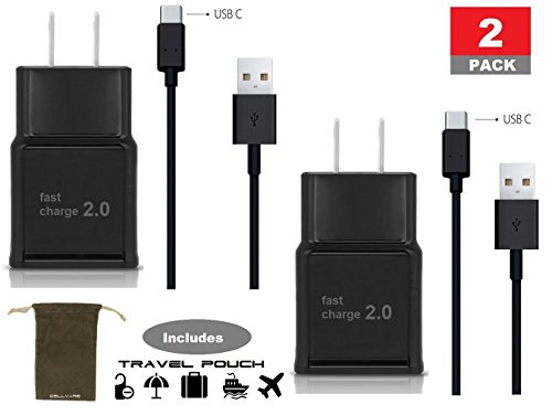 Type C Two Pack Adaptive Fast Charger (AFC) for Samsung Galaxy S9,S8, Note 8 Fast Wall Plug w USB-C-Black 2 Pack - Includes convenient Travel Pouch
