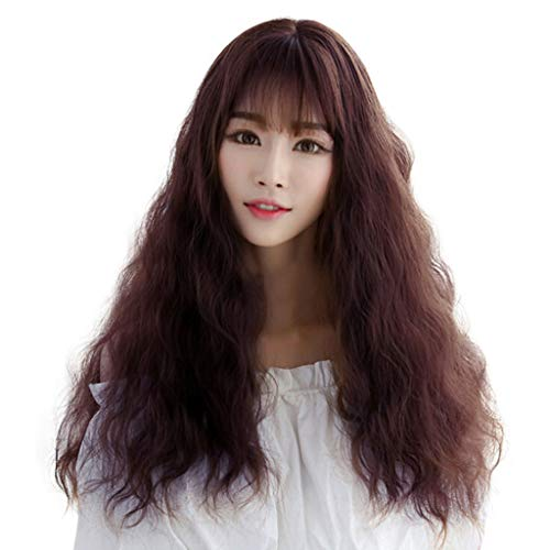 JYS Long Curly Air Corn Perm Natural Wave Long Curly Wigs for Women Cosplay Party Ripple Hair│ Womens Brown Fashion Natural Full Curl Wig (Coffee) ()