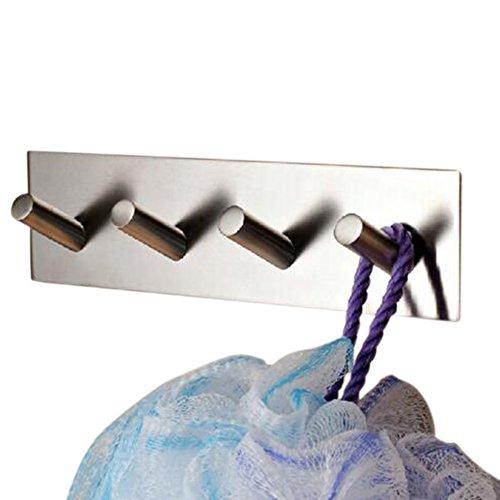 304 Stainless Steel Self Adhesive Hook Bathroom Kitchen Towel Hanger Style 4 - 6