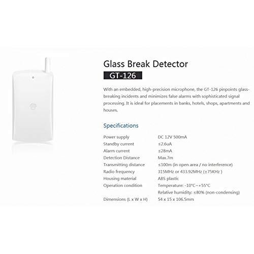 Chuango GT-126 Inalámbrico Blanco Detector de Movimiento - Sensor de Movimiento (Inalámbrico, 315-433.92, 500 MA, -10-55 °C, Blanco, 15 x 54 x 106,5 mm): ...