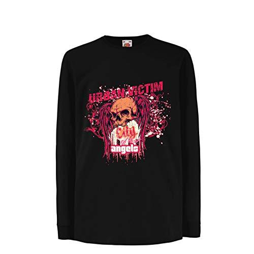 lepni.me Boys/Girls T-Shirt Skull Urban Victim, City of Lost Angels (12-13 Years Black Multi]()