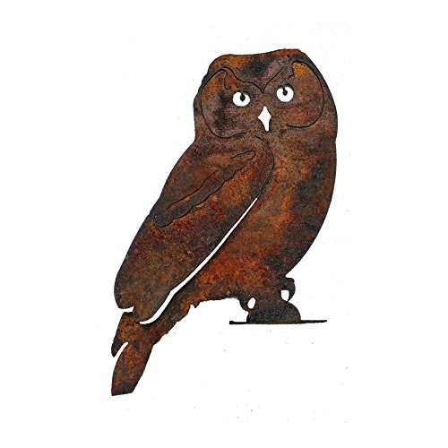 Elegant Garden Design Owl - Large, Steel Silhouette with a Rusty (Owl Silhouette)