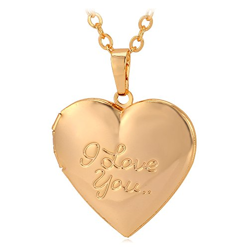 heart shaped platinum or 18k gold plated i love you