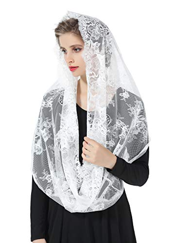 Mantilla Catholic Chapel Church Veil Easter Halloween Cathedral Head Covering Infinity Lace Scarf Latin Mass Off -