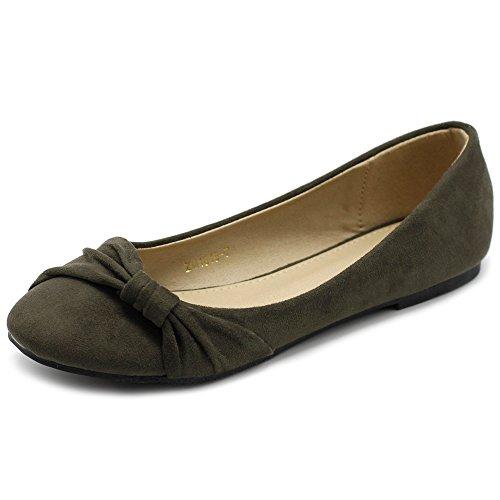 Ollio Women's Shoe Ballet Faux Suede Flat ZM1815 (8.5 B(M) US, Olive) -