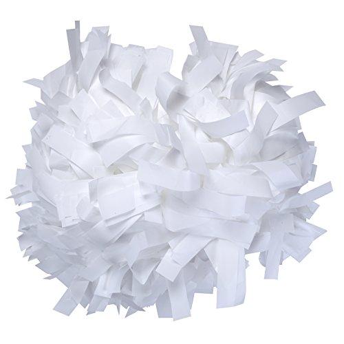 ICObuty Plastic Cheerleading Pom pom 6 inch 1 Pair (White)
