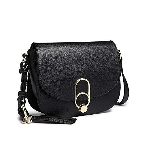 (Miss Lulu Women Cross body Bag Fashion Tassel Decoration Zipper Handbags Flap with Lock Closure Shoulder Bag (1831 Black))