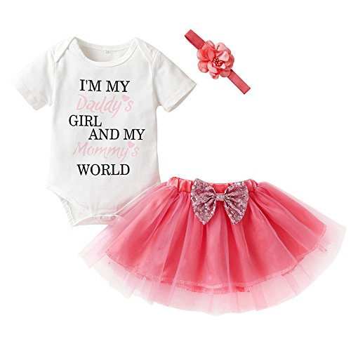 Baby Girls Summer Letter Romper Top + Tutu Lace Bowknot Skirt Dresses + Headband 3Pcs Outfit Sets (Multi, 70/0-3M) (Baby Skirt Beautiful Lace)