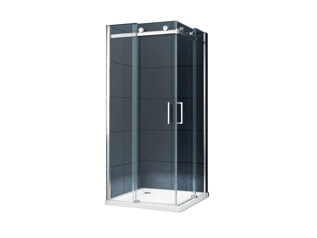 Eckeinstieg Duschkabine Dusche Unna 90 x 90 x 200cm mit Duschtasse + Siphon/Duschabtrennung Duschwand