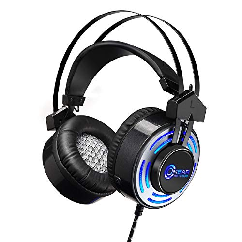 OMBAR Gaming Headset for Xbox One with Hidden Microphone Superior Noise Canceling, PS4 Headset with LED Light, Compatible with PC, Laptop, PS4, Xbox One Controller, Nintendo and More