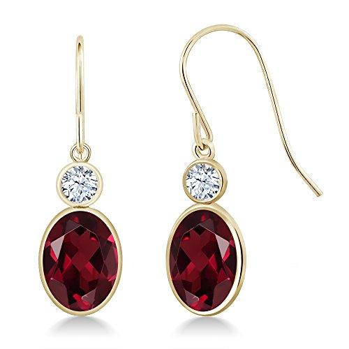 (Gem Stone King 2.96 Ct Red Rhodolite Garnet White Created Sapphire 14K Yellow Gold)