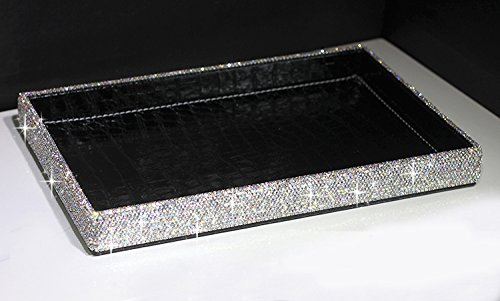 BestblingBling Classic Bling Rhinestone Jewelry or Makeup Storage Box Organizer Display Storage case with Lock for Desk or Table ()