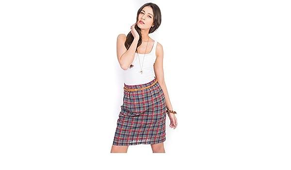 HIDDENFASHION-Falda de talle alto, diseño de cuadros Vichy-Manta ...