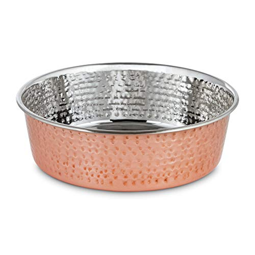 Harmony Copper-Plated and Hammered Stainless-Steel Dog Bowl, 11 Cups, X-Large