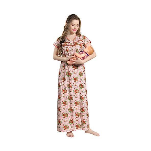 AV2 Women Printed Feeding/Nursing/Maternity Nighty 1191