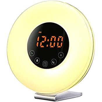 Sunrise Wake up Light Digital Alarm Clock Radio with sunrise and sunset simulation for bedroom, bedside and kids, FM Radio, 7 Colors, 6 Natural Sounds, 10 Brightness Levels and Touch Control, white