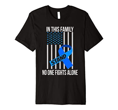 (USA Flag Colorectal Blue Ribbon Colon Cancer Awareness Shirt)