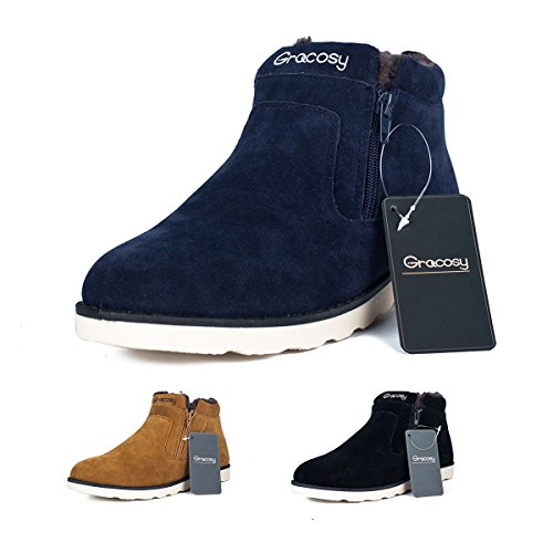 Men's Snow Boots,Gracosy Korean Style Warm Casual Shoes Rubber Sole Winter Snow Boots Cotton Shoes Cold-Weather Boots with Velvet Zipper Blue 43